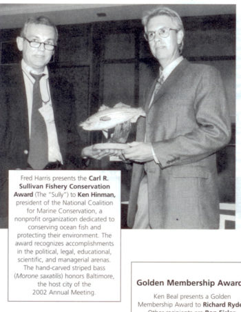 Ken receives the Karl R. Sullivan Fishery Conservation Award from the American Fisheries Society in 2002.