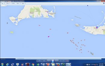 AIS shot of squid boats concentrated off of SW corner of Martha's Vineyard.