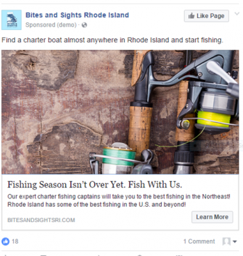 The charter fishing industry website, www.bitesandsightsri.com, has about 9,000 visitors a month. Shown is a sample of a digital ad that pushed people to the website.