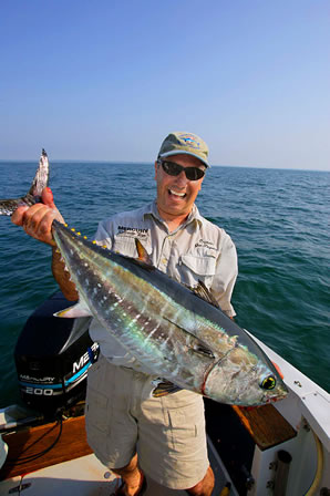 Capt. Joe Pagano of Stuff-It Charters with a tuna.