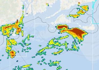 Heat map of 2014 Squid Fleet Effort. Note the concentration off of Martha's Vineyard & Nantucket.