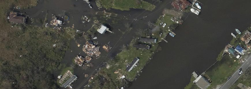 Top photo: NOAA satellite image of Hurricane Ida's destruction in Terrebonne Parish.