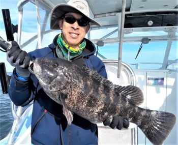"""Jamie Wong of Cambridge with a 25"""" tautog he caught in November. The tautog this year seemed larger and more plentiful."""