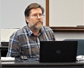 Regulation workshop:  John Lake, RI DEM supervising marine biologist, addresses anglers at a fisheries workshop January 6 at the URI Bay Campus. 2020 scup, black sea bass and fluke regulations expected to be the same, but NOAA likely clamping down in 2021.