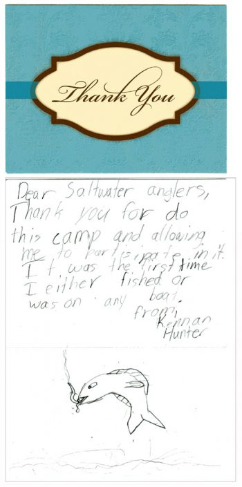 Kennan Hunter's thank-you note to camp organizers.