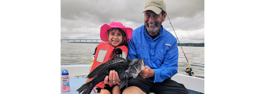 Warming water has brought an abundance of black sea bass to the northeast, like this one caught by Lucia Wong of Cambridge, MA, which she caught when fishing with Capt. Dave Monti.