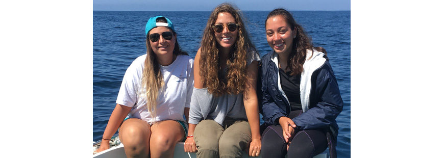 Mates Katie Viducic, Claire Hodson & Lauren Benoit of Snappa Charters.