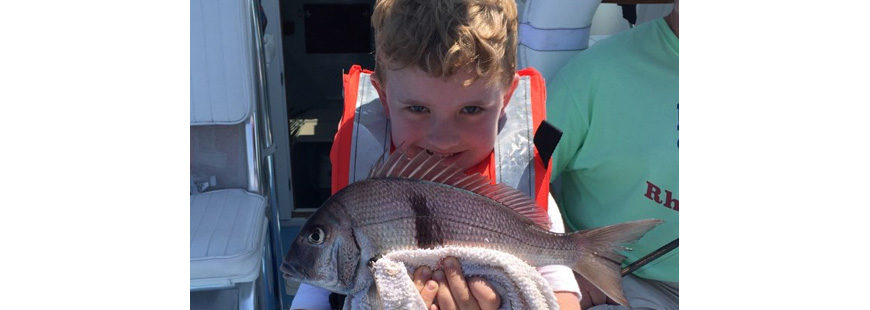 Solomon Moore (age four) with scup