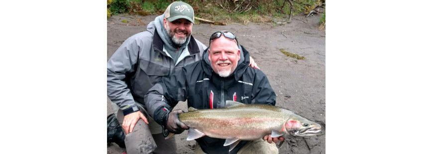 Guide Chris Vertopoulos (left) and client Jim Lorenz with a wild-released Sandy River steelhead from April 10, 2017