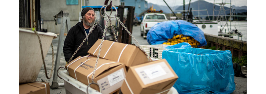 Alaska seafood being loaded up for delivery to Southeast Alaska communities