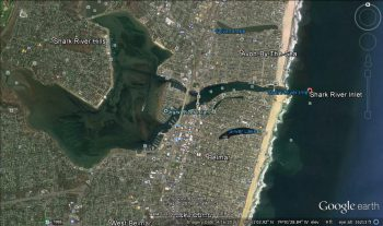 Satellite view of Shark River Inlet, NJ. 10-15 pound bluefish chased a school of bunker into the inlet at high tide. When the tide dropped, they all died because the bluefish stayed at the mouth and wouldn't let them out.