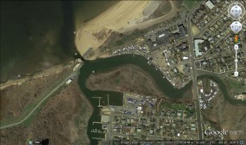 Satellite shot of marina in Keansburg, NJ (note the flood gate at the opening to the bay)