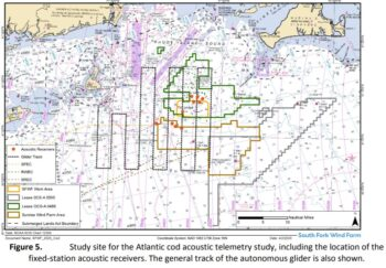 Wind farm area acoustic telemetry study map showing fixed buoys and glider course.