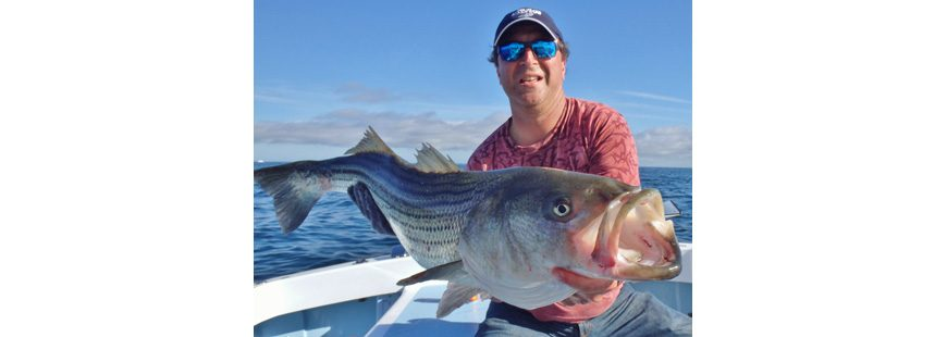 A strong Magnuson-Stevens Act allowed striped bass to grow to sustainable levels, like this one caught September, 2016 off Block Island by Steve Brustein of Maine on No Fluke Charters.