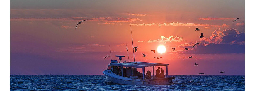 Recreational anglers at sunset