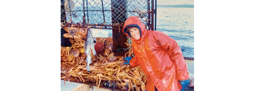 Leigh Thomet winter crab fishing, Kodiak