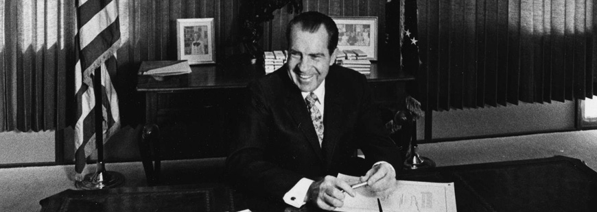 President Richard Nixon signs the National Environmental Policy Act of 1969 into law