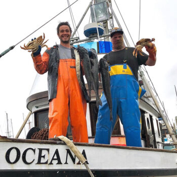 The crew of the F/V Oceana proudly display their catch, for sale to the public right off the boat at Woodley Island Marina in Eureka, California