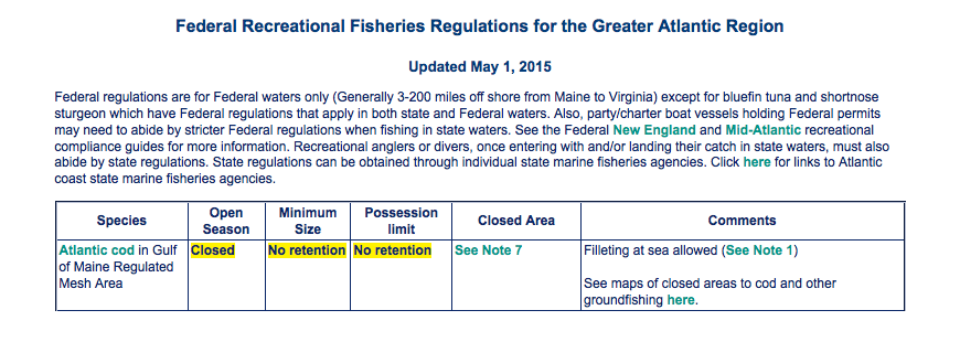 Screenshot of Recreational Fisheries Regulations