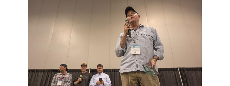 Top photo: Tom Sadler speaking after receiving the Jim Range Conservation Leadership Award. Photo courtesy AFFTA.