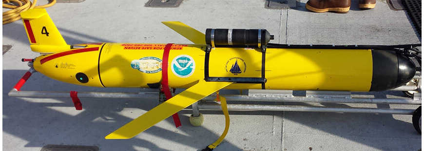 Underwater glider used in cod and a highly migratory species studies to come, can track fish tagged with transmitters in real time. (Photo: Christopher McGuire/The Nature Conservancy).