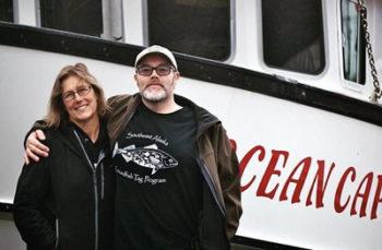 Fishermen Wendy and Jason harvest spot prawns for Alaskans Own aboard the F/V Ocean Cape.  Photo credit: Alyssa Russell
